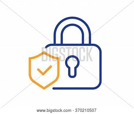 Security Lock Line Icon. Cyber Defence Shield Sign. Private Protection Symbol. Colorful Thin Line Ou