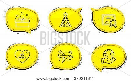 Christmas Tree Sign. Diploma Certificate, Save Planet Chat Bubbles. Airplane Travel, Present Box And