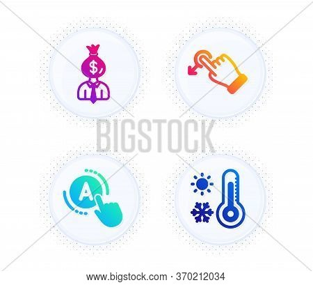 Drag Drop, Manager And Ab Testing Icons Simple Set. Button With Halftone Dots. Weather Thermometer S