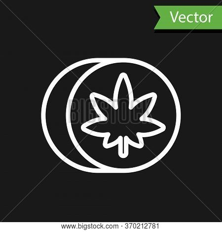 White Line Herbal Ecstasy Tablets Icon Isolated On Black Background. Vector Illustration