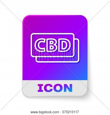 White Line Cannabis Molecule Icon Isolated On White Background. Cannabidiol Molecular Structures, Th
