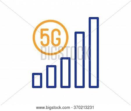 5g Wifi Signal Quality Line Icon. Wireless Technology Sign. Mobile Internet Symbol. Colorful Thin Li