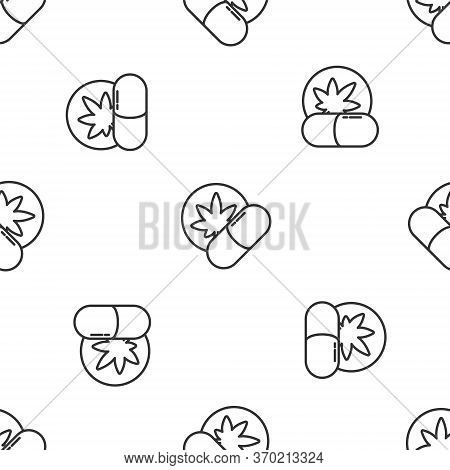 Grey Line Herbal Ecstasy Tablets Icon Isolated Seamless Pattern On White Background. Vector Illustra