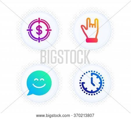 Horns Hand, Smile Chat And Dollar Target Icons Simple Set. Button With Halftone Dots. Time Sign. Ges