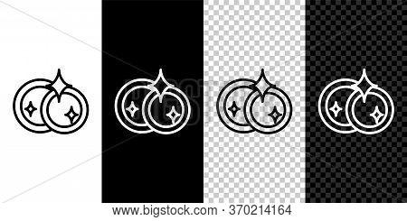 Set Line Washing Dishes Icon Isolated On Black And White Background. Cleaning Dishes Icon. Dishwashe