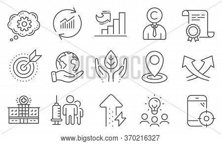 Set Of Science Icons, Such As Copyrighter, Energy Growing. Diploma, Ideas, Save Planet. Hospital Bui