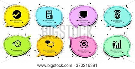 Timer, Graph Chart And Best Rank Signs. Chat Bubbles With Quotes. Audit, Chat Message And Approved L