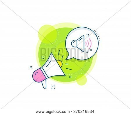 Music Sound Sign. Megaphone Promotion Complex Icon. Loud Sound Line Icon. Musical Device Symbol. Bus