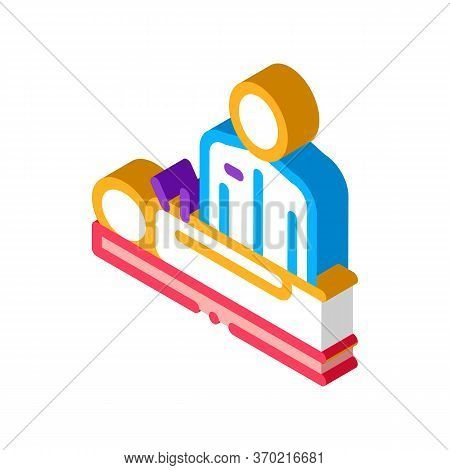 Human Acupuncture And Doctor Icon Vector. Isometric Human Acupuncture And Doctor Sign. Color Isolate