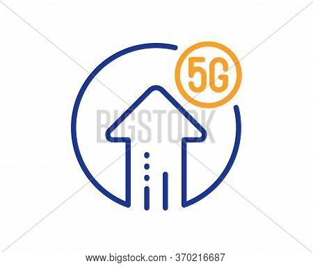 5g Upload Speed Line Icon. Wireless Technology Sign. Mobile Wifi Internet Symbol. Colorful Thin Line