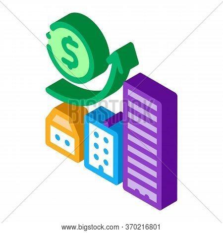 Monetary Construction Gradual Residential Buildings Icon Vector. Isometric Monetary Construction Gra