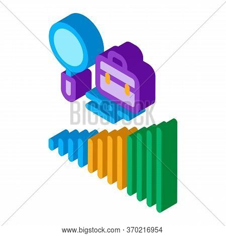 Career Advancement Research Icon Vector. Isometric Career Advancement Research Sign. Color Isolated