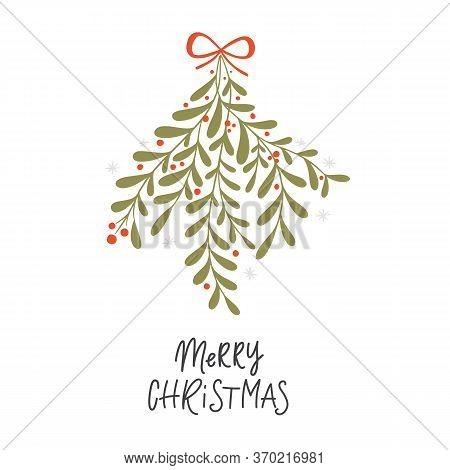Vector Christmas Plant Background Hand Drawn Mistletoe