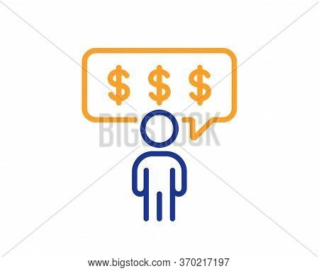 Employee Benefits Line Icon. Business Salary Sign. People Savings Symbol. Colorful Thin Line Outline
