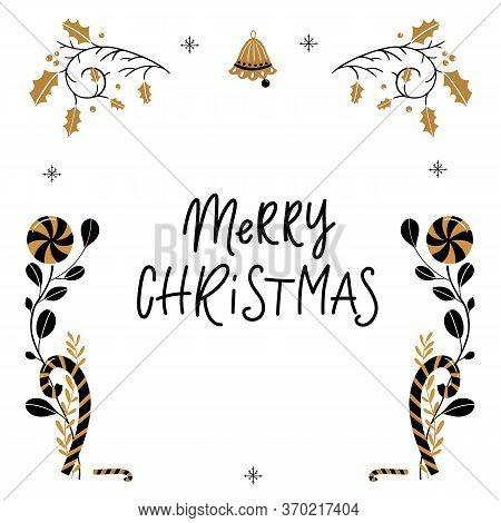 Greeting Card Merry Christmas Lettering, Mistletoe , Decorative Elements