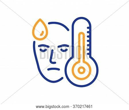 Sick Man With Fever Line Icon. Temperature Thermometer Sign. Flu Illness Symbol. Colorful Thin Line
