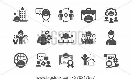 Engineering Icons Set. Technical Documentation, People And Teamwork. Blueprint With Gear, Engineer A