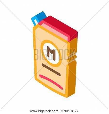 Pack Of Mayonnaise With Dispenser Icon Vector. Isometric Pack Of Mayonnaise With Dispenser Sign. Col
