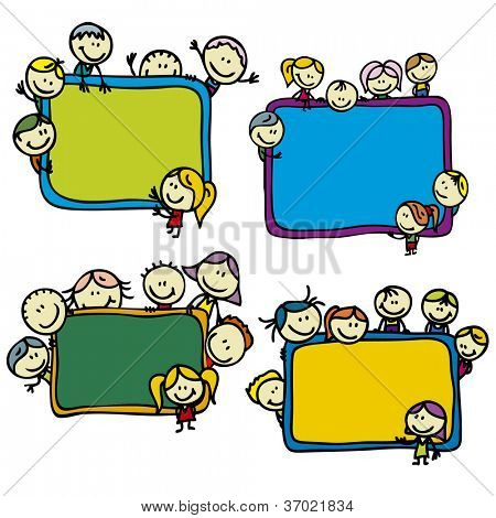 Set of happy doodle children around school blackboards