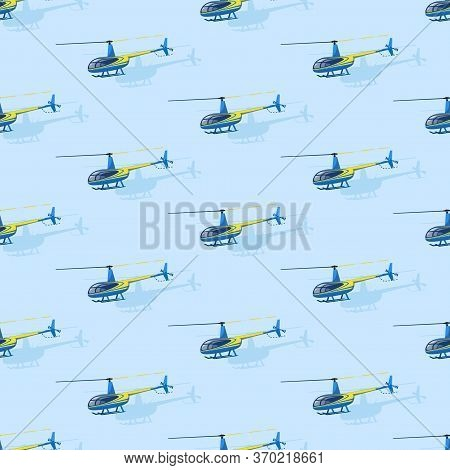 Civilian Helicopters Fly. Helicopter Drawing. Vector Themed Background. Flat Style. Seamless Pattern