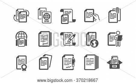 Documents Icons Set. Contract Agreement, Copy Files, Passport. Cv Interview, Documents Workflow, Att