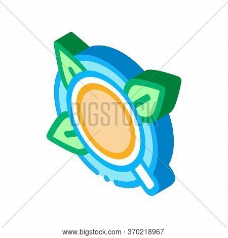 Cup Of Tea With Saucer Top View Icon Vector. Isometric Cup Of Tea With Saucer Top View Sign. Color I