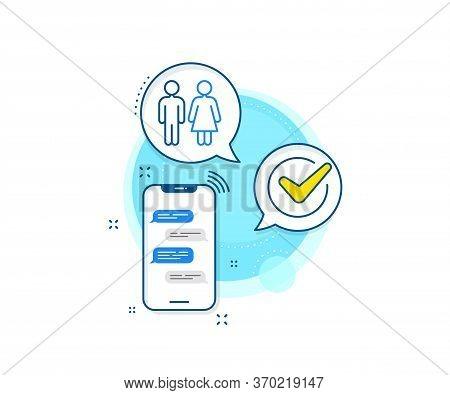 Wc Toilet Sign. Phone Messages Complex Icon. Restroom Line Icon. Public Lavatory Symbol. Messenger C