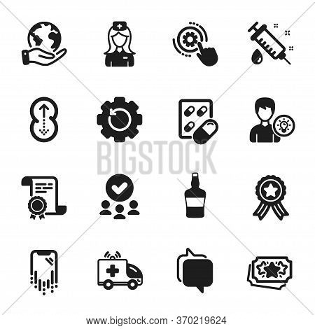 Set Of Business Icons, Such As Capsule Pill, Ambulance Car. Certificate, Approved Group, Save Planet
