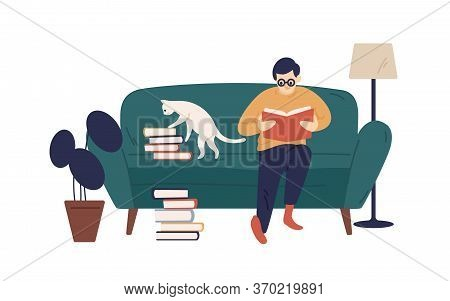 Enthusiastic Guy Reading Book Sitting On Couch Vector Flat Illustration. Literature Lover Resting At