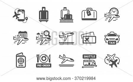 Airport Icons Set. Baggage Claim, Boarding Pass, Arrival And Departure. Connecting Flight, Tickets,
