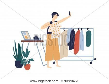 Female Fashion Blogger Making Clothes Review Recording Video Use Smartphone Vector Flat Illustration