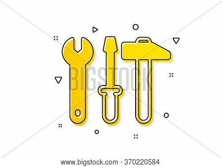 Repair Service Sign. Spanner, Hammer And Screwdriver Icon. Fix Instruments Symbol. Yellow Circles Pa