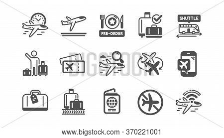Airport Icons Set. Boarding Pass, Baggage Claim, Departure. Connecting Flight, Tickets, Pre-order Fo