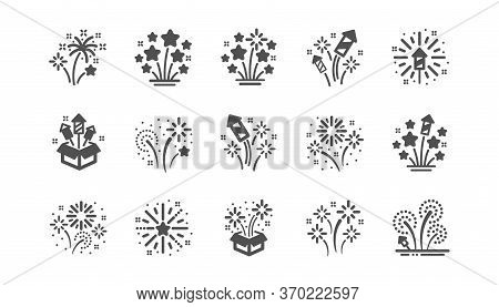 Firework Salute Icons Set. Carnival Celebration, Christmas Explosive Pyrotechnic And Festival Lights