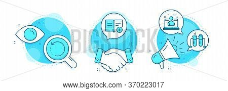 Recovery Data, Best Manager And Chemistry Beaker Line Icons Set. Handshake Deal, Research And Promot