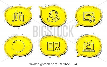 Technical Info Sign. Diploma Certificate, Save Planet Chat Bubbles. Recovery Data, Best Manager And