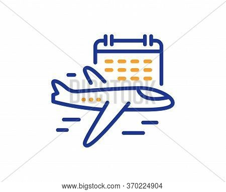 Select Flight Line Icon. Airplane With Calendar Sign. Airport Flights Symbol. Colorful Thin Line Out
