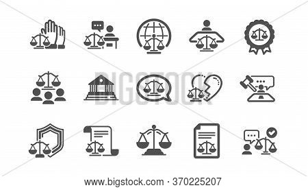 Court Icons Set. Scales Of Justice, Lawyer And Judge. Law, Hammer And Petition Document Set Icons. J