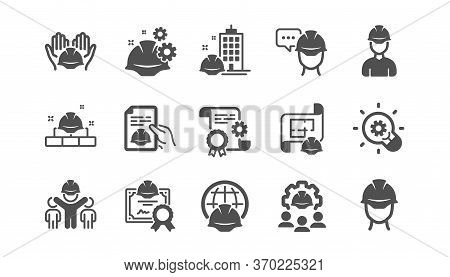 Engineering Icons Set. People, Teamwork And Technical Documentation. Blueprint With Gear, Engineer A