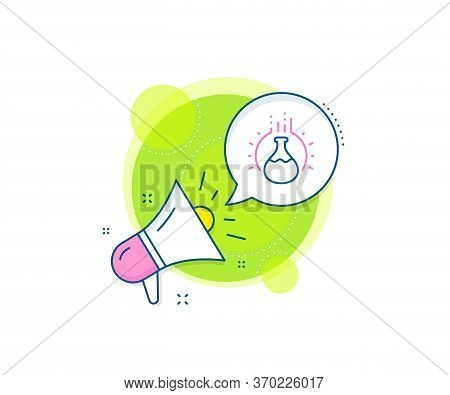 Laboratory Flask Sign. Megaphone Promotion Complex Icon. Chemistry Experiment Line Icon. Analysis Sy