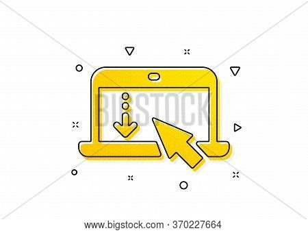 Scrolling Screen Sign. Scroll Down Laptop Icon. Swipe Page. Yellow Circles Pattern. Classic Scroll D