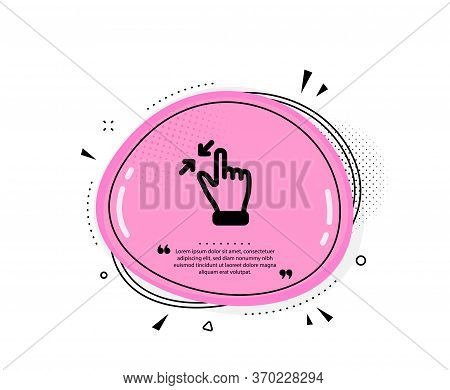 Touchscreen Gesture Icon. Quote Speech Bubble. Zoom Out Sign. Action Arrows Symbol. Quotation Marks.