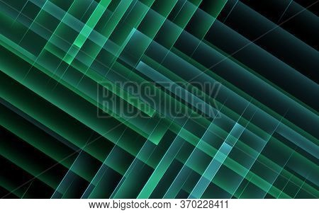 Abstract Dark Cgi Background, Geometric Pattern Of Green Right Angle Corners. 3d Rendering Illustrat