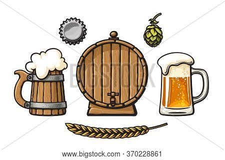 Vintage Set Of Beer Objects. Barrel, Glass Mug Of Beer With Foam And Bubbles, Bottle Cap, Hop Cone,