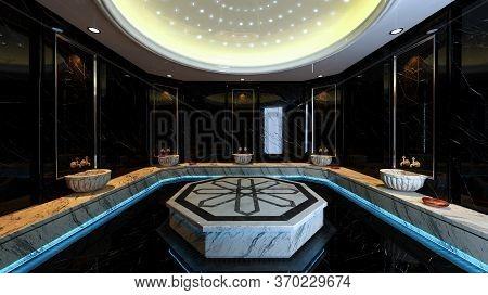 Modern Black Marble Turkish Bath Concept Design 3d Rendering