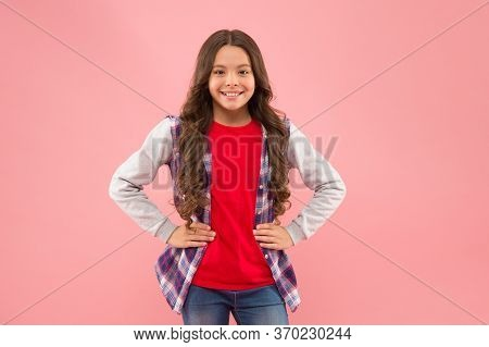 Nice Time To Be Teen. Kid Fashion. Smiling School Girl. Kid With Long Hair. Happy Child. Happy Child