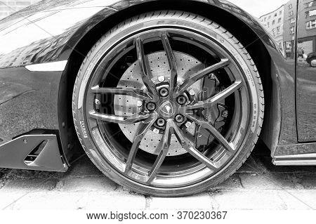 Hamburg, Germany-july 27, 2019: Supercar Lamborghini Huracan Lp 610-4 Whill Pirelli Black Color Park