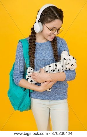 Adorable Soft Toy To Fall In Love With. Happy Child Cuddle Toy Dog. Little Girl Play With Soft Toy.