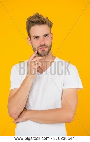 Emotional Means Alive. Psychology Concept. Emotional Handsome Guy. Sexy Handsome Confident Young Man