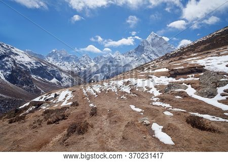 Road To Everest Base Camp In Khumbu Valley And Himalaya Mountain Landscape In Sagarmatha National Pa
